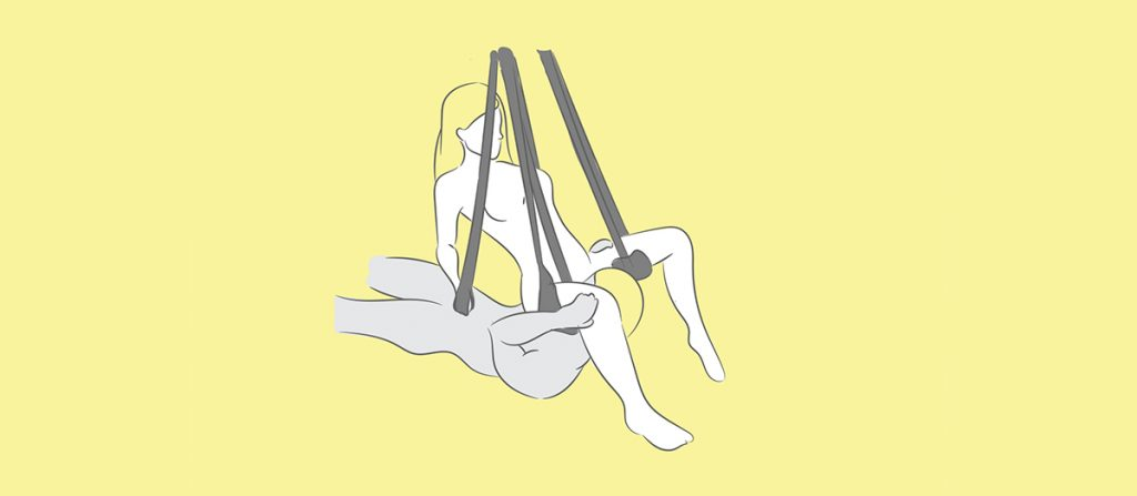 face-squatting sex swing position