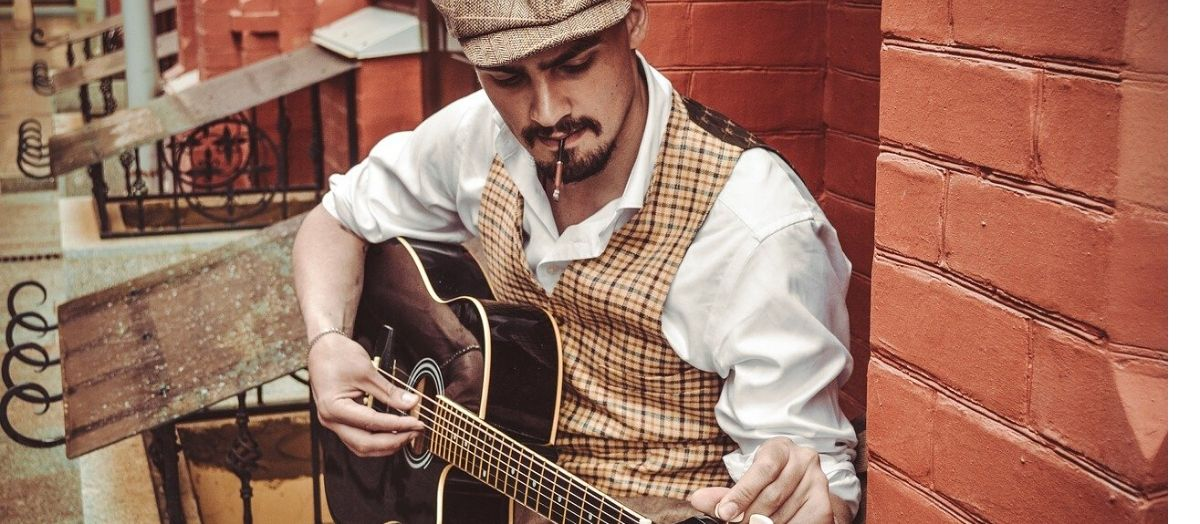 Roaring 1920s Man Playing Guitar