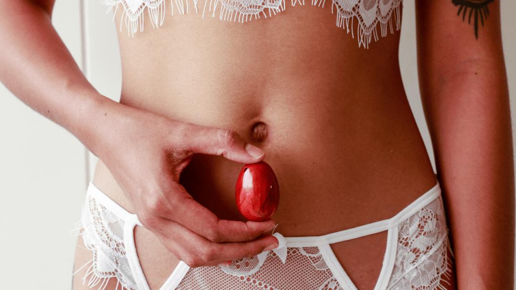 sexy woman with Carnelian yoni egg